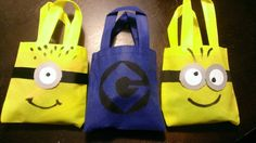 Despicable Me Minion party favor bags--  Made some look like minions and some with the Gru logo