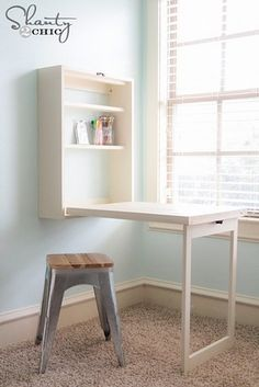 Build your own foldaway desk that'll create more space when not in use.