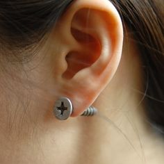 Fab.com | Screw Earrings Silver-Toned (great for a Halloween costume!)