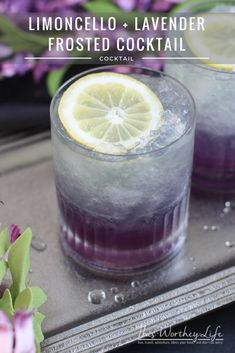 Lemoncello + Lavender Frosted Cocktail Our Limoncello + Lavender Frosted Cocktail is lemony plus lavender frosted dream come true! It takes like a spiked lavender lemonade. Bottoms up! Party Drinks, Cocktail Drinks, Fun Drinks, Cocktail Recipes, Alcoholic Drinks, Beverages, Margarita Recipes, Purple Cocktails, Tequila Drinks