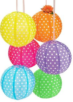 Polka dot lanterns- cute! These remind us of the birthday lanterns illustrated in the My Very Happy Birthday Book!