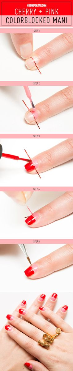 The only thing standing between you and this adorbs V-Day mani is some striping tape!