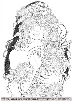 Illustration from the book Colorism - Beauty & Nature by Edward Ramos - 5 - Image with : Woman, From the gallery : Zen & Anti Stress Adult Coloring Book Pages, Colouring Pages, Printable Coloring Pages, Coloring Books, Cute Flower Drawing, Zentangle, Badass Drawings, Art Projects For Adults, Colorful Drawings