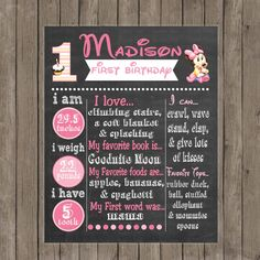 Baby Minnie Mouse First Birthday Chalkboard by SweetPeaPrintz, $11.00