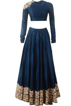 Navy blue embroidered lehnga available only at Pernia's Pop-Up Shop.
