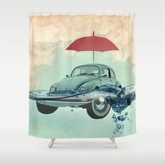 VW Chance of rain in deep water Shower Curtain