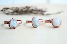 Moonstone ring. Electroformed rainbow moon stone. Electroformed ring. Copper ring. Ring with natural stone. Gift for girl. Gift for her by BYKETUA on Etsy
