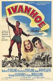 Ivanhoe is a 1952 (Technicolor) film made by MGM. It was directed by Richard Thorpe and produced by Pandro S. Berman. The cast featured Robert Taylor, Elizabeth Taylor, Joan Fontaine, George Sanders, Emlyn Williams, Finlay Currie and Felix Aylmer. The screenplay was by Æneas MacKenzie, Marguerite Roberts, and Noel Langley based on the historical novel Ivanhoe by Sir Walter Scott.  The film was nominated for three Academy Awards.