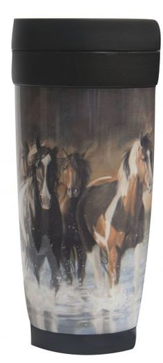 "Outdoor Travel Mug with "" Rush Hour"" artwork Durable plastic construction, great for hot or cold beverages. Spill proof screw-on lid with open/close drink valve. Fits most car and truck cup holders. Measures 7.5"" tall."