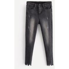 Fuzzy Lined Ripped Cuff Jeans ❤ liked on Polyvore featuring jeans, destruction jeans, cuff jeans, torn jeans, distressing jeans and distressed jeans