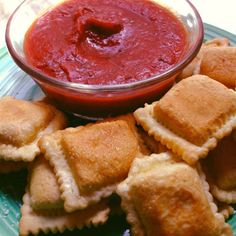 Fried Raviolis  This crunchy, bite-sized favorite is sure to go fast. Bake up a few batches with different shaped raviolis and fillings, then serve with sauces like warmed marinara and Alfredo.