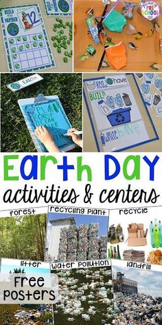 Earth Day literacy math sensory science sensory art and fine motor activities and centers for preschool pre-k and kindergarten. Plus FREE Earth Day vocabulary posters! Earth Science Experiments, Earth Science Projects, Earth Science Activities, Earth Science Lessons, Earth Day Projects, Earth Day Crafts, Spring Activities, Preschool Activities, Motor Activities