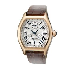 TORTUE PERPETUAL CALENDAR WATCH Automatic, pink gold, leather. Cartier's first self-winding movement with a perpetual calendar demonstrates great creativity in two areas: the excellent readability of the day and date functions and the innovative calendar display.