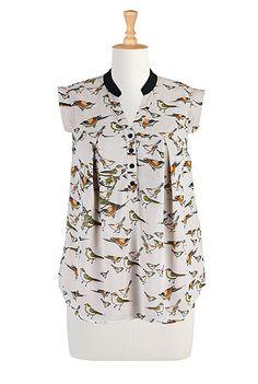 #eShakti Bird print georgette blouse