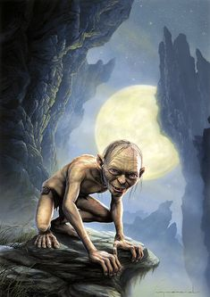 Lord of the Rings Gollum Painting.. suits the moooood