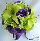 17pcs Wedding Bridal Bride Bouquet Flowers Decoration Package GREEN PURPLE LILY