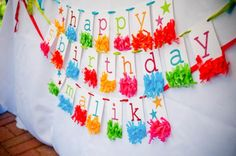 Cute banner idea! Letters with paper fringe garland from www.KarasPartyIdeas.com/shop. How to on Kara's Party Ideas.