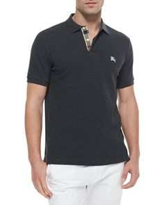 Modern+Fit+Short-Sleeve+Polo+Shirt,+Gray+by+Burberry+Brit+at+Neiman+Marcus.