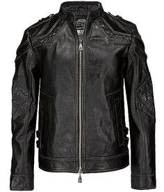 Affliction Black Premium Gear Up Leather Jacket