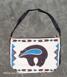 "Adorable southwestern BEAR print on a roomy 13x19"" canvas purse. 5"" flat expandable bottom. Zips close.  $21.95 w/ free shipping #bear #purse #nativeamerican #southwestern"