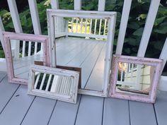 shabby chic  mirror set pink white group of 4 by MySugarBlossom, $55.00