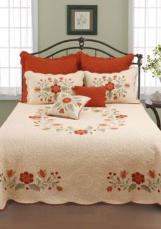 Adorn your bed with the soft and durable Nostalgia Home™ June bedspread to add some comfort and country style to your bedroom. Bedspreads Comforters, Quilted Bedspreads, Quilted Pillow, Bedding Shop, Quilt Bedding, Bed Sheet Painting Design, Bed Cover Design, Designer Bed Sheets, Bedding Collections