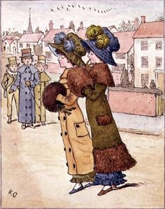 Out for a Walk, 19th century (colour lithograph) by Kate Greenaway