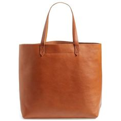 Women's Madewell 'The Transport' Leather Tote (£130) ❤ liked on Polyvore featuring bags, handbags, tote bags, bolsas, purses, english saddle, brown leather tote bag, brown leather handbags, handbags totes and leather tote purse