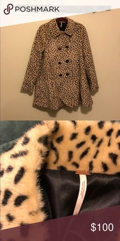 Free People Faux Leopard Jacket Barley worn Free People faux Leopard jacket. Very warm and cuddly. Great for dressing up or down. Wore this on several special occasions including a wedding and NYE. Cute ruffled bottom. Great jacket to dress up a LBD. Free People Jackets & Coats Pea Coats
