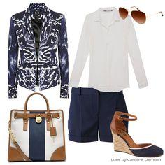 Blazer e Bermuda Alexander McQueen, Camisa Pop Up Store, Espadrille Arezzo, Bolsa Michael Kors, Óculos RayBan