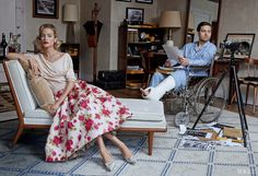"""Channeling Alfred Hitchcock's film, """"Rear Window"""", Peter Lindbergh captures Carolyn Murphy and Toby Maguire for Vogue US' April 2013 issue. Styled by Grace Coddington."""