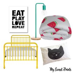 Cat and watermelon girls room. Yellow Incy Bed, Eat Play Love Repeat, poster, Freedom lamp, cat nap pillowcase, watermelon.