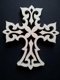 Gothic Cross  http://www.rhondda-woodcraft.co.uk/shop/crosses/wooden-fretwork-gothic-cross/