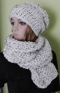 EXTRA BULKY Hand Knitted Slouch Hat and Scarf by picoloknitting, $65.00