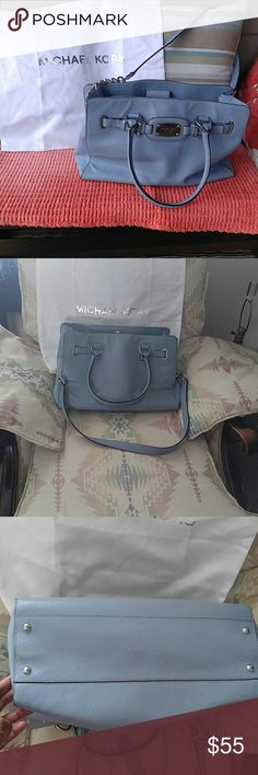 Authentic Michael Kors Large Satchel Beautiful Baby Blue Michael Kors Large Satchel With Dust Bag. Excellent Condition Other Than A Few Wear Marks On Handle As Pictured in Photo. Long And Short Strap. ❤❤ Michael Kors Bags Satchels