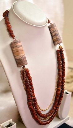 Multi Layer Necklace - Chain and Stone - Multiple chains, Shell Rings and Earth  #Necklace