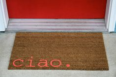 Witty Hand Painted Coir Welcome Mat ciao. by mybeautifulmessshop