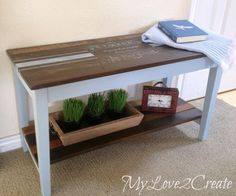 from old piano bench to foyer table