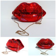 Crystal Handbag - Red Lips Crystal Clutch Purse sold by Wicked Addiction. Shop more products from Wicked Addiction on Storenvy, the home of independent small businesses all over the world. Unique Handbags, Unique Purses, Unique Bags, Cute Purses, Purses And Handbags, Popular Handbags, Bling Purses, Trendy Purses, Cheap Purses