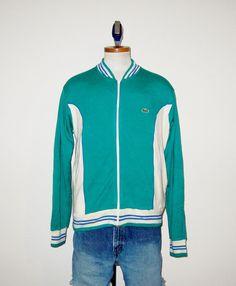 #Vintage #70s Two Tone #Izod #LaCoste #Acrylic #Track Style #Jacket - Size #Large