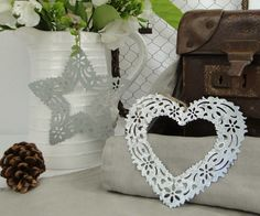 Set 2 Lace Metal Christmas Tree Decorations Heart and Star Rustic Vintage Style | eBay