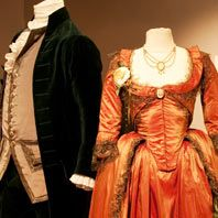 Costumes worn by Keira Knightley and Ralph Fiennes in The Duchess. Costumes by Michael O'Connor
