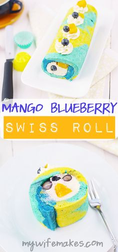 Simple, easy to make, and super delicious Mango Blueberry Swiss Roll