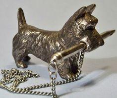 Vintage Metal Scottie Dog Pencil Holder w Chain Scottish Terrier Figurine   eBay
