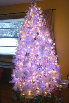 my white christmas tree with blue lights