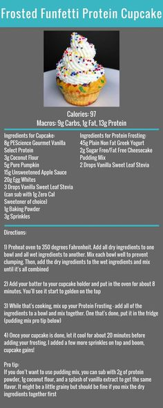Frosted Funfetti Protein Cupcake Recipe #FlexibleDietingLifestyle #IfItFitsYourLifestyle