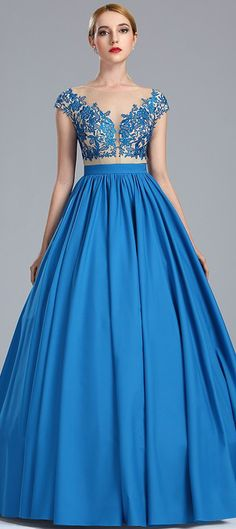 eDressit Blue Lace Appliques Fancy Quinceanera Ball Gown