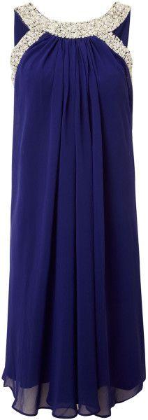 Js Collections Embellished Halter Neck Dress in Blue (cobalt) - Lyst