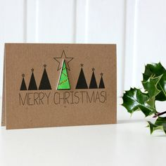 Personalised Merry Christmas Card With Christmas Tree by Little Silverleaf, the perfect gift for Explore more unique gifts in our curated marketplace. Christmas Card Packs, Merry Christmas Greetings, Christmas Tree Cards, Merry Christmas To You, Xmas Cards, Holiday Cards, Winter Cards, Handmade Christmas, Christmas Diy