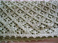 Started knitting this chalice lace baby blanket in the weekend designed to be a quick knit for a baby gift the lace pattern is based off of dt1010fo